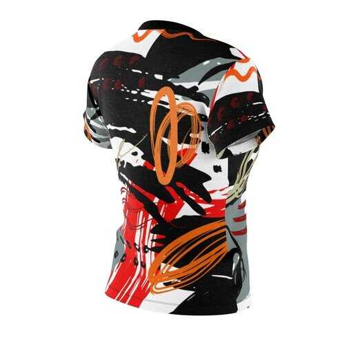 Womens Shirts, Black And Red Abstract Style Top