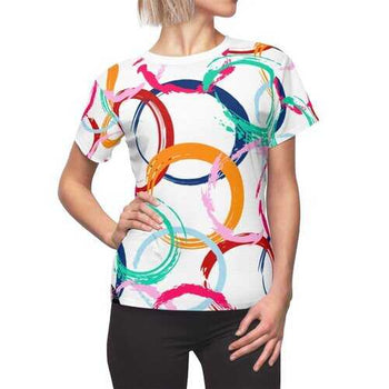 Womens Shirts, Abstract Colorful Circular Style White Top