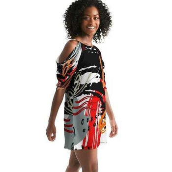 Womens Dresses, Black Red And White Abstract Style Open Shoulder A-Line Dress