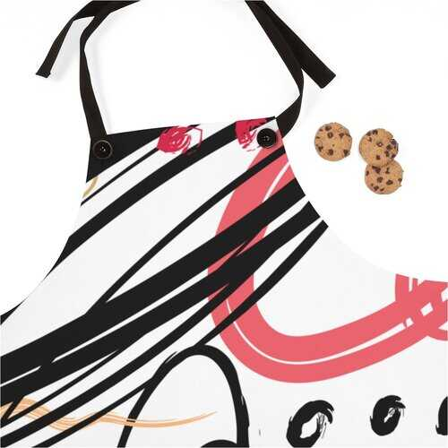 Unisex Apron, Abstract Black Pink Gold Circular Design