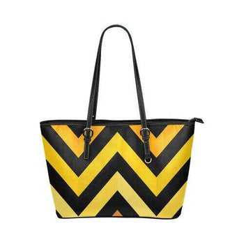 Black And Yellow Herringbone Style Leather Tote Bag