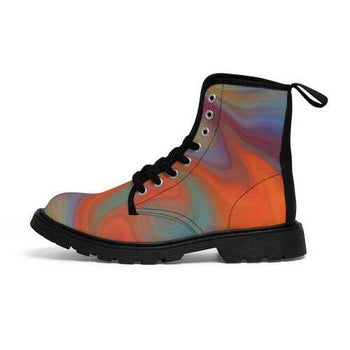 Womens Canvas Boots, Abstract Autumn Swirl Style Martin Boots