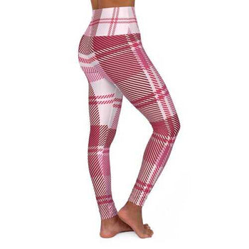 Womens Leggings, Pink And White Plaid Style High Waisted Fitness Pants