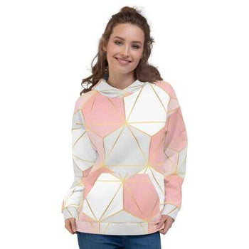 Womens Hoodies, Pink Gray And White Geometric Style Hooded Shirt