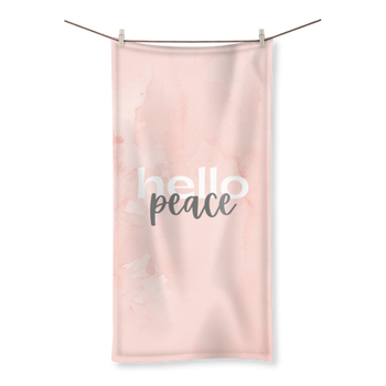 Peach Marble Hello Peace Graphic Style Towel