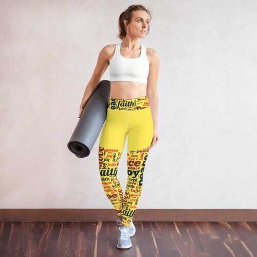 Womens Athletic Pants, Peace Love Joy Faith Graphic Style Yellow Yoga Leggings