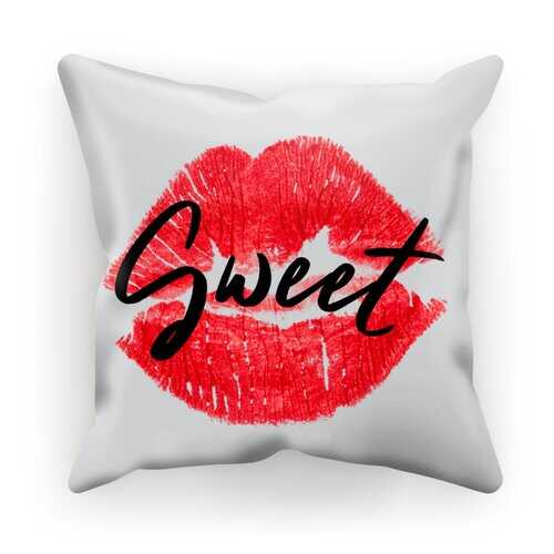 Accent Pillows, Sweet Kiss Red Lipstick Black Graphic Text Style Sublimation Cushion Cover