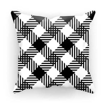 Black And White Plaid Style Cushion Cover