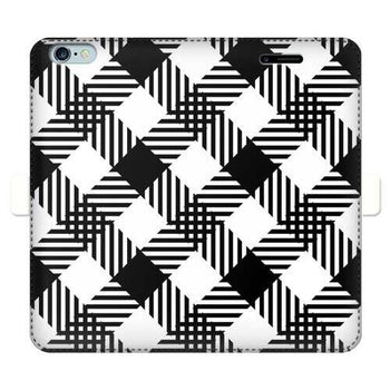 Black And White Plaid Style Full Cover Print Wallet Cases