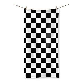 Black And White Checker Style Large Towel
