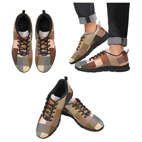 Womens Sneakers, Brown Tone Color Block Black Bottom Running Shoes