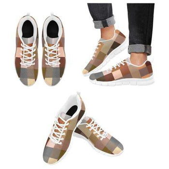 Womens Sneakers, Brown Tone Color Block White Bottom Running Shoes