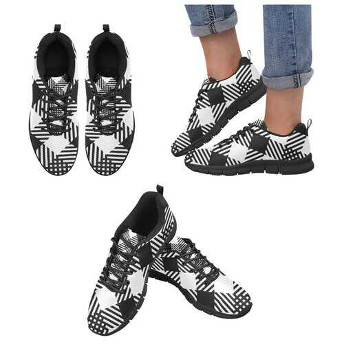 Womens Sneakers, Black And White Plaid Style Black Bottom Running Shoes