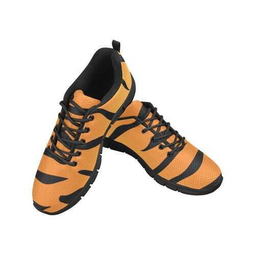 Womens Sneakers, Orange And Black Tiger Stripe, Black Bottom Running Shoes