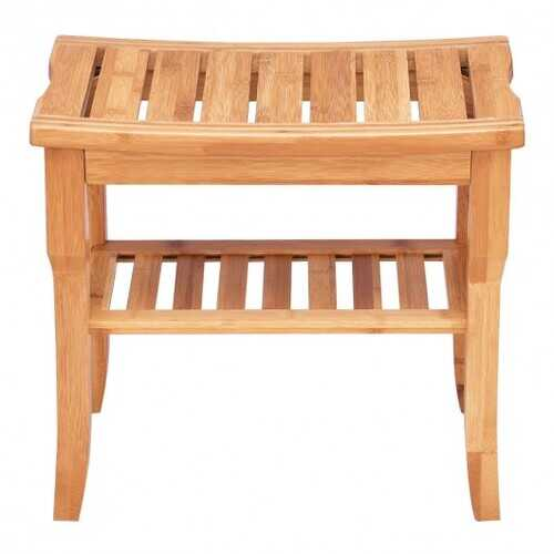 Bathroom Bamboo Shower Chair Bench with Storage Shelf