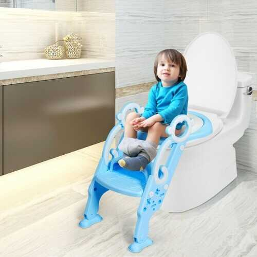 Adjustable Foldable Toddler Toilet Training Seat Chair-Blue