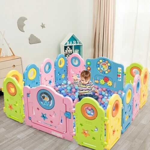 14 Panel Kids Activity Center Baby Playpen with Gate