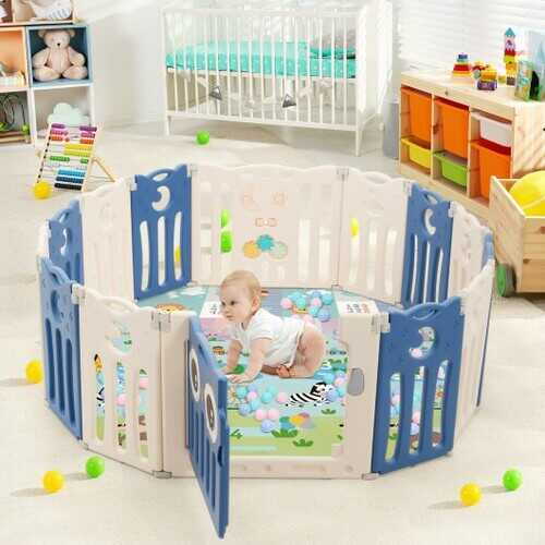 14-Panel Baby Playpen Kids Activity Center Foldable Play Yard with Lock Door-Blue