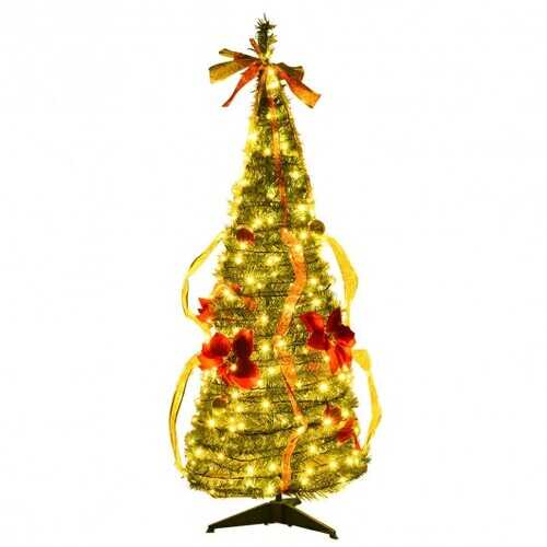 4 Ft Pre-lit Spruce Christmas Tree with Bows and Ribbon
