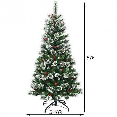 5 ft Snow Flocked Artificial Christmas Hinged Tree