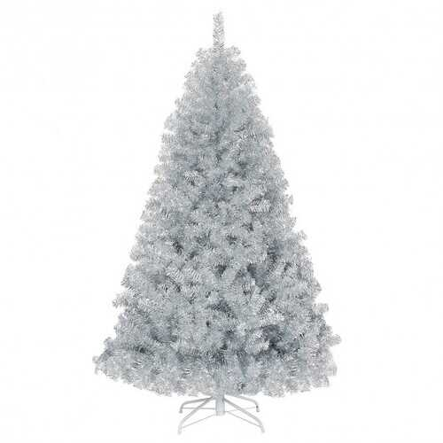 6ft Hinged Unlit Artificial Silver Tinsel Christmas Tree Holiday with Metal Stand