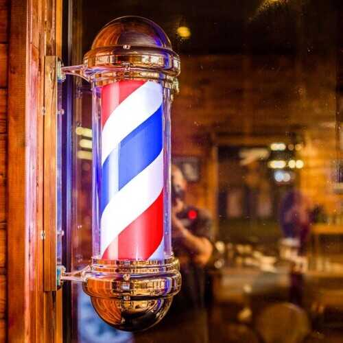 "30"" Barber Shop Pole Red White Blue Rotating Light"