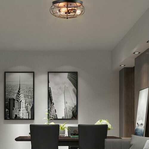 Semi Flush Mount Ceiling Light with Industrial Retro Design