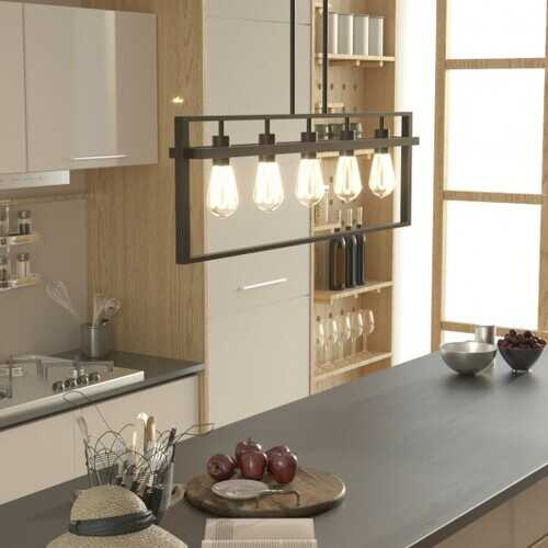 5-Lights Pendant Lamp with Iron Square Lamp Shade