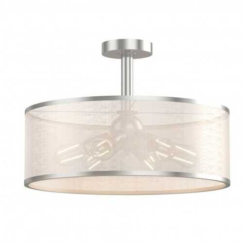 6-Light Semi Flush Mount Ceiling Light Pendant Lamp with Fabric Drum-shaped Shade