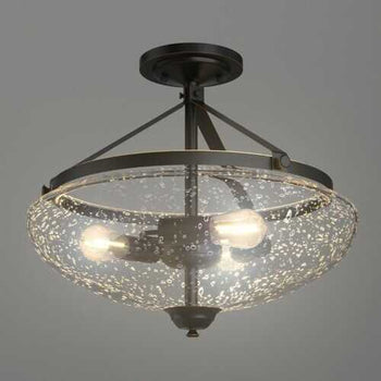 3-Light Semi Flush Industrial Seeded Glass Mount Ceiling Lamp