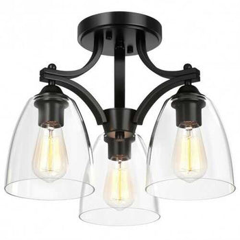 3-Light Semi Flush Mount Ceiling Light with Vintage Clear Glass Pendant