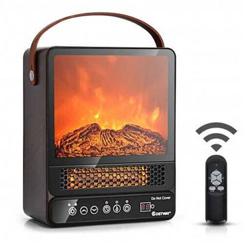 1500W Electric Fireplace Tabletop Portable Space Heater with 3D Flame Effect-Walnut