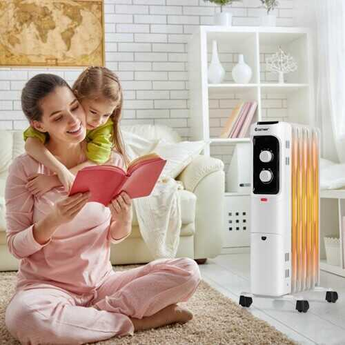 1500W Oil Filled Portable Radiator Space Heater with Adjustable Thermostat-White
