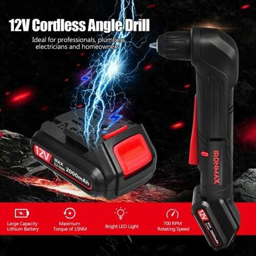 "12V Cordless Angle Drill with 3/8"" Single Sleeve Chuck"