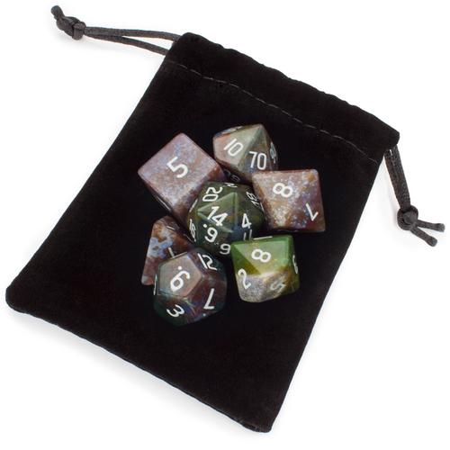 Set of 7 Handmade Stone Polyhedral Dice, Indian Agate