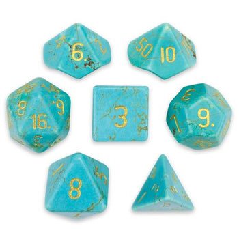 Set of 7 Handmade Stone Polyhedral Dice, Turquoise Magnesite