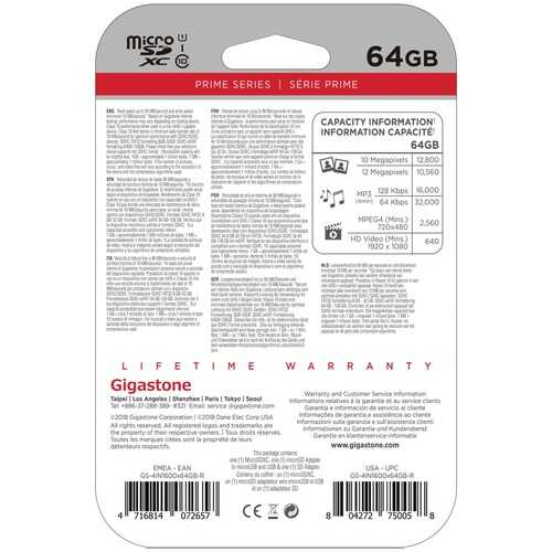Gigastone GS-4IN1600X64GB-R Prime Series microSD Card 4-in-1 Kit (64GB)