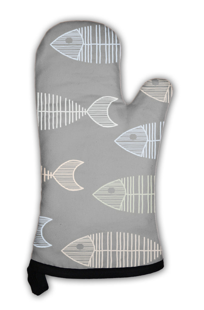 Oven Mitt, Tile With 50s Retro Fish Bone Pattern