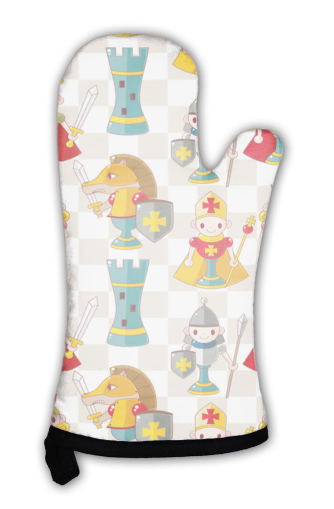 Oven Mitt, Cartoon Chess Pattern