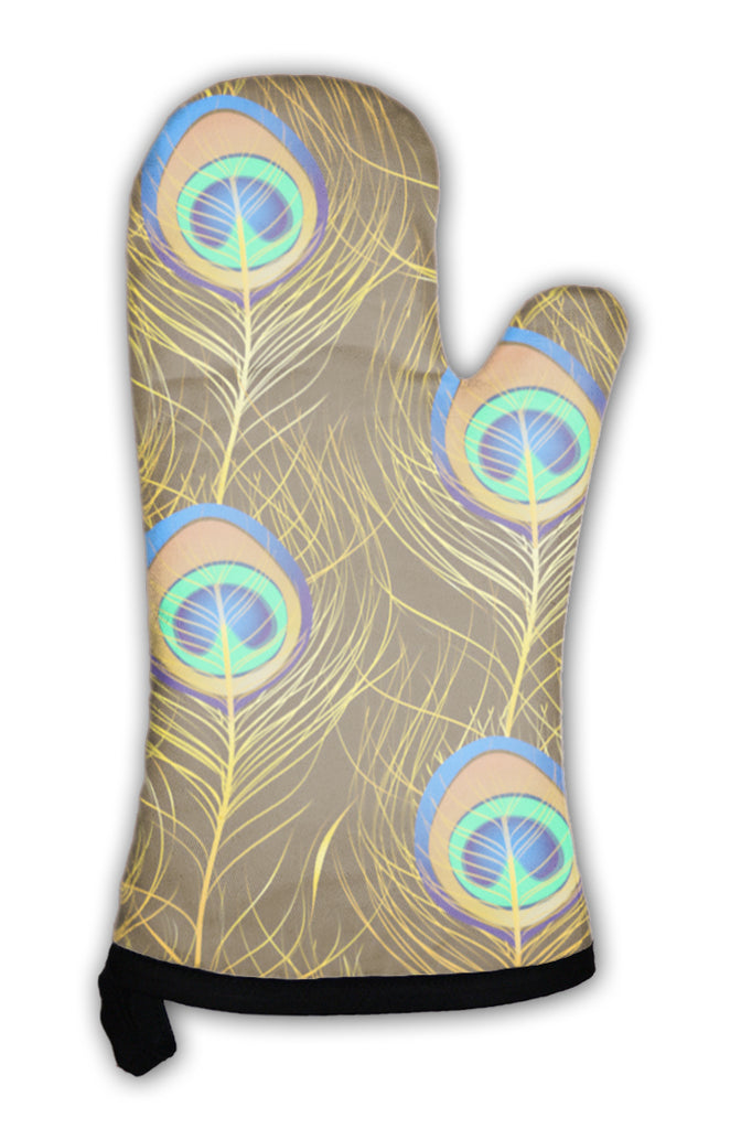 Oven Mitt, Pattern Of Peacock Feathers