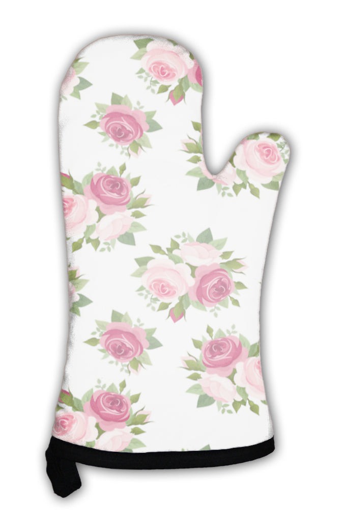 Oven Mitt, Pattern With Red And Pink Roses Illustration
