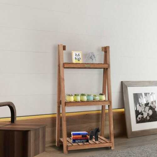 3-Tier Folding Flower Stand Rack Wood Plant Storage Display Shelf