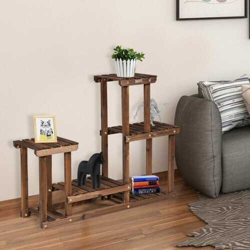 Solid Wood Plant Stand Multi-Tier Flower Pot Holder Indoor/Outdoor