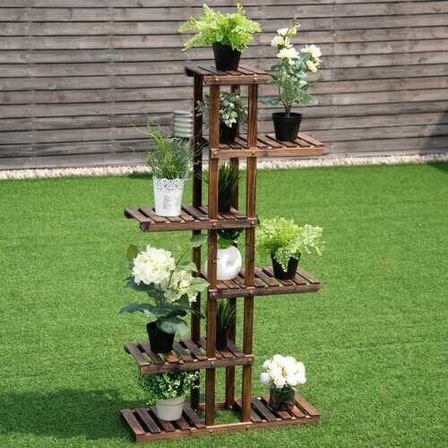 6 Tier Garden Wooden Shelf Storage Plant Rack Stand