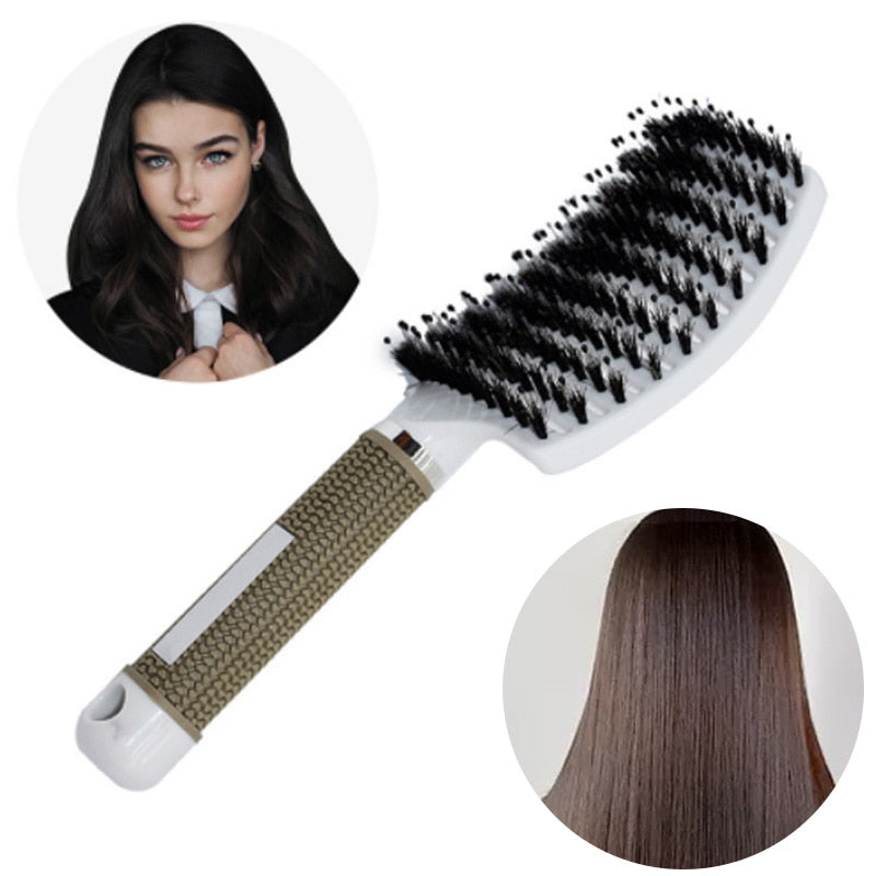 Girls Hair Scalp Massage Comb Hairbrush Bristle Nylon Women Wet Curly Detangle Hair Brush for Salon Hairdressing Styling Tools