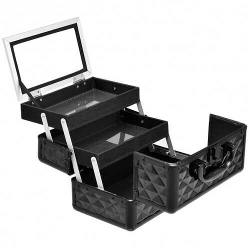 Beauty Cosmetic Makeup Case with Mirror & Extendable Trays-Black