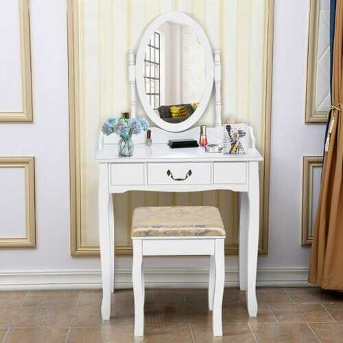 White Vanity Table Set with Stool for Girls Women Makeup