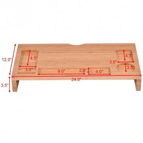 Bamboo Monitor Stand Riser Storage Laptop Desktop