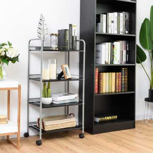 4 Tiers Rolling Cart Storage Display Rack