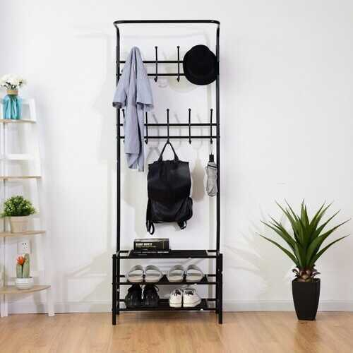Metal Entryway Coat Hat Shoes Rack 18 Hooks Garment Rack
